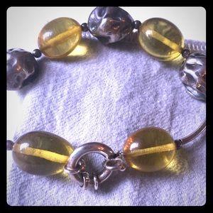 Sterling and genuine green amber bracelet!